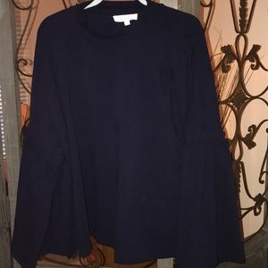 Plus size 3x navy blue sweat shirt puff sleeve.